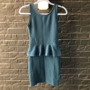 H&M Teal Peplum Textured Dress